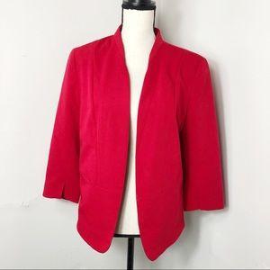 LC Lauren Conrad Red Open Front Blazer Jacket 12